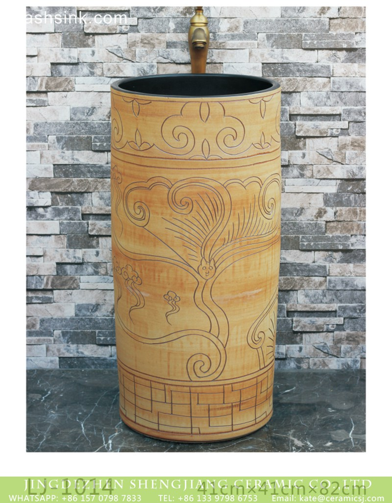 LJ-1014 China traditional style wood with hand carved special pattern surface and black wall one-piece basin LJ-1014 - shengjiang  ceramic  factory   porcelain art hand basin wash sink