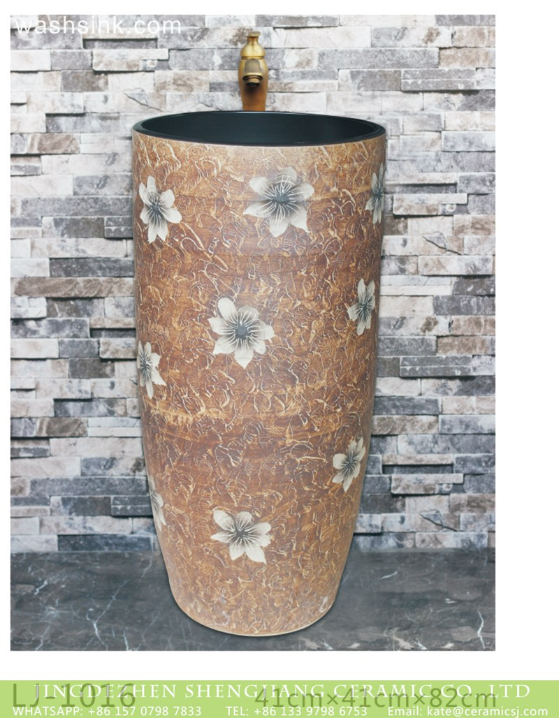 LJ-1016 New produced Jingdezhen Jiangxi brown color with flowers printing pedestal basin LJ-1016 - shengjiang  ceramic  factory   porcelain art hand basin wash sink