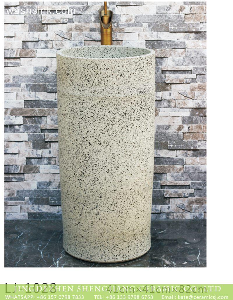 LJ-1028 Hot new products white color with black spots outdoor pedestal basin LJ-1028 - shengjiang  ceramic  factory   porcelain art hand basin wash sink