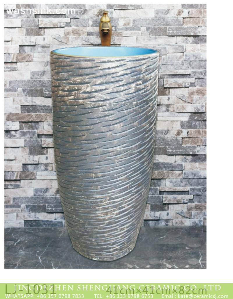 LJ-1031 Jingdezhen art ceramic hand carved grey color one piece freestanding basin LJ-1031 - shengjiang  ceramic  factory   porcelain art hand basin wash sink