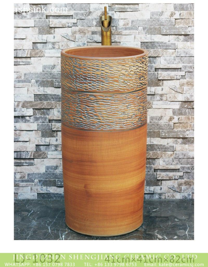 LJ-1032 Jingdezhen factory direct wholesale pure hand ceramic wood color pedestal basin LJ-1032 - shengjiang  ceramic  factory   porcelain art hand basin wash sink