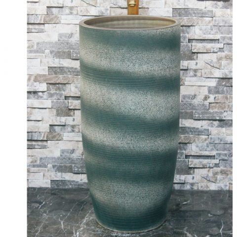 Shengjiang factory hot sell dark green-and-white color art ceramic outdoor vanity basin LJ-1039