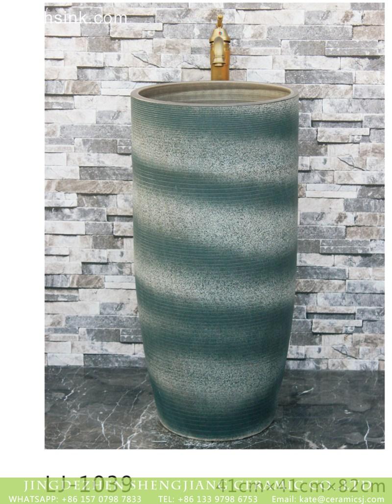 LJ-1039 Shengjiang factory hot sell dark green-and-white color art ceramic outdoor vanity basin LJ-1039 - shengjiang  ceramic  factory   porcelain art hand basin wash sink