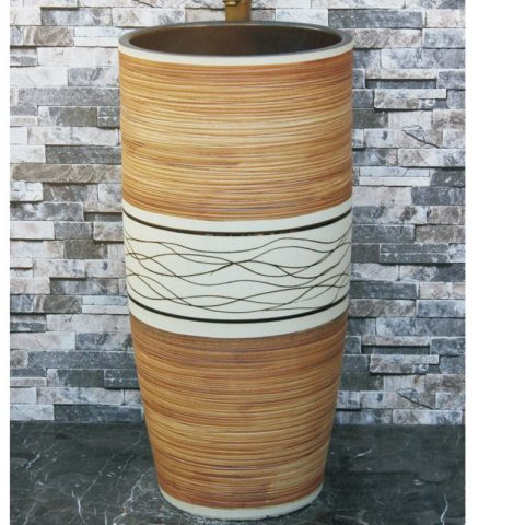 China porcelain city wood surface and white color with black lines outdoor lavabo LJ-1040