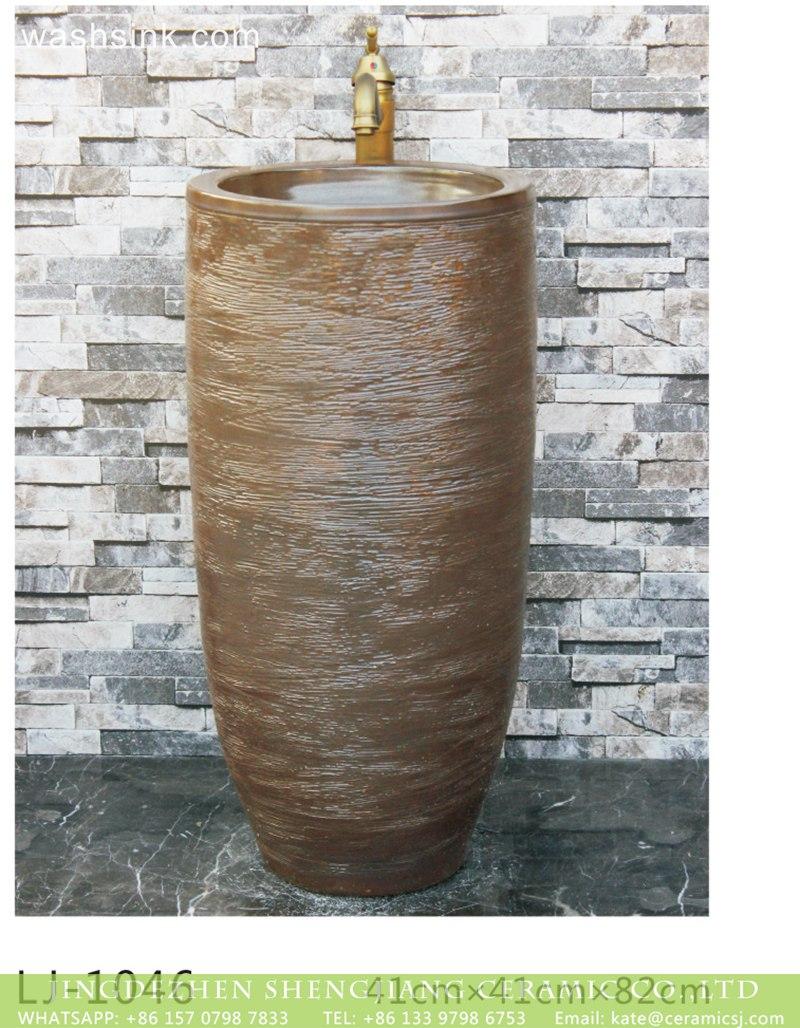 LJ-1046 Jingdezhen Shengjiang ceramic factory brown color outdoor lavabo  LJ-1046 - shengjiang  ceramic  factory   porcelain art hand basin wash sink