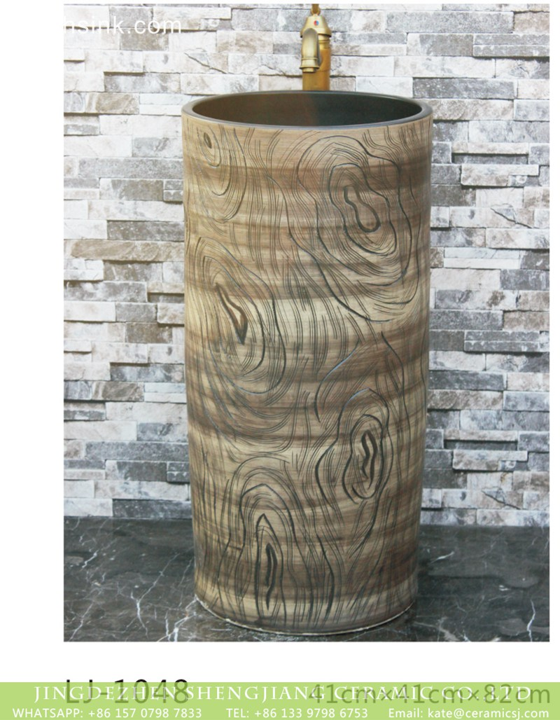 LJ-1048 Jingdezhen modern vanity art ceramic wood surface pedestal basin LJ-1048 - shengjiang  ceramic  factory   porcelain art hand basin wash sink