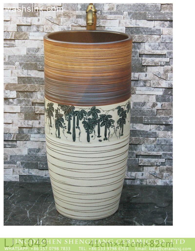 LJ-1049 Jingdezhen Shengjiang ceramic factory white and brown with great trees pattern and lines one-piece basin LJ-1049 - shengjiang  ceramic  factory   porcelain art hand basin wash sink