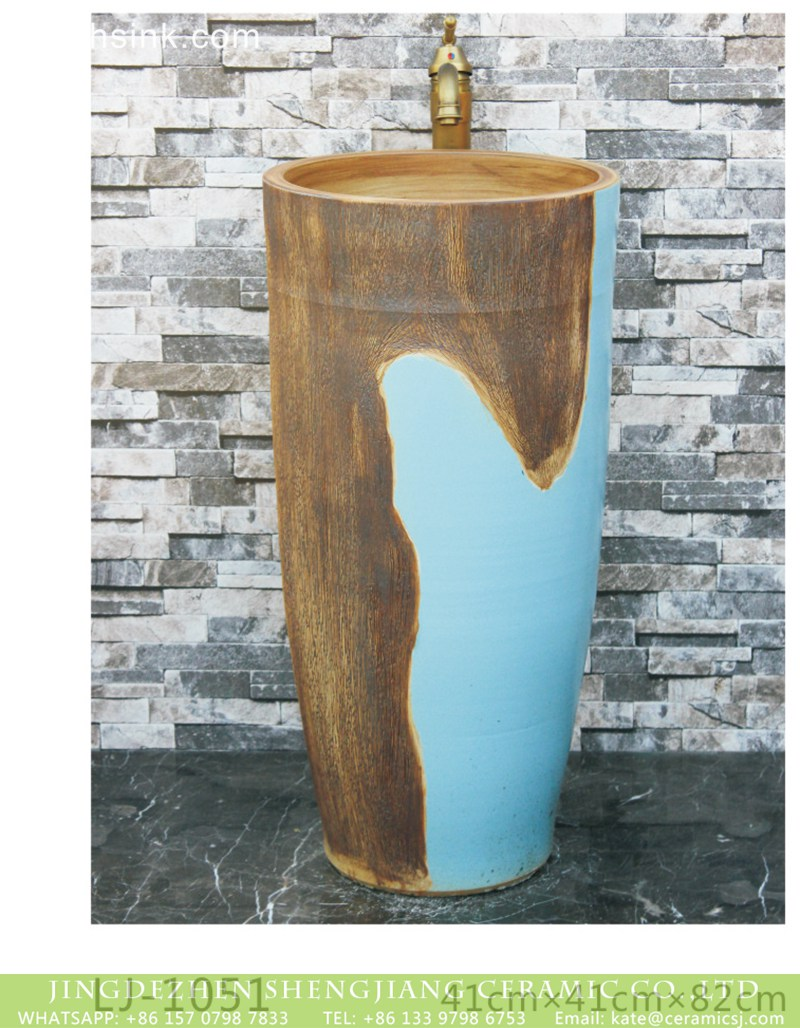 LJ-1051-4 Chinese art design blue and brown surface one-piece basin  LJ-1051 - shengjiang  ceramic  factory   porcelain art hand basin wash sink