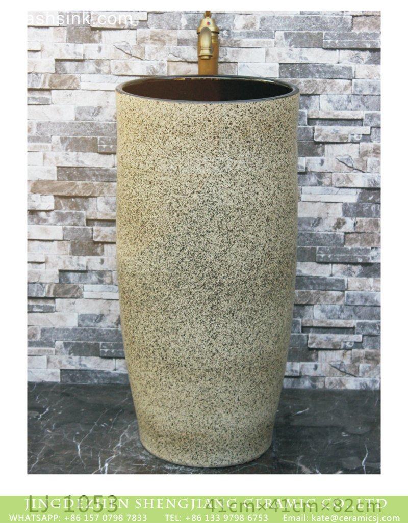 LJ-1053 Shengjiang factory new products yellow color with black spots surface pedestal basin  LJ-1053 - shengjiang  ceramic  factory   porcelain art hand basin wash sink