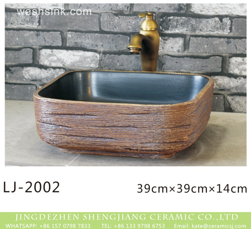 LJ-2002 Shengjiang factory direct hand carved brown color square vanity basin LJ-2002 - shengjiang  ceramic  factory   porcelain art hand basin wash sink