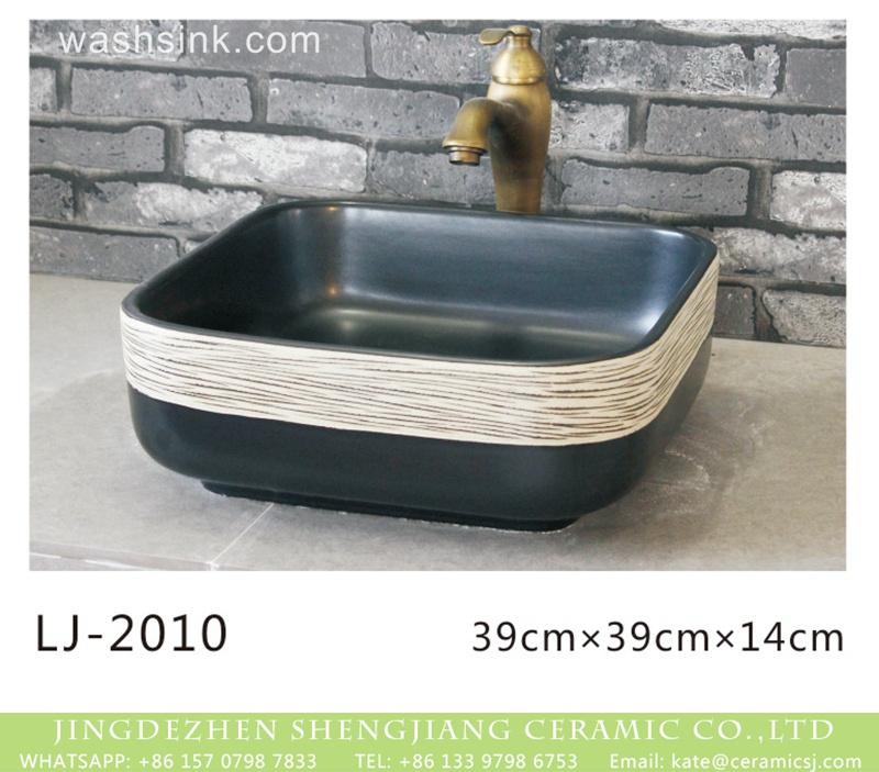 LJ-2010 Shengjiang factory hot sell product black and white color surface foursquare sanitary ware  LJ-2010 - shengjiang  ceramic  factory   porcelain art hand basin wash sink