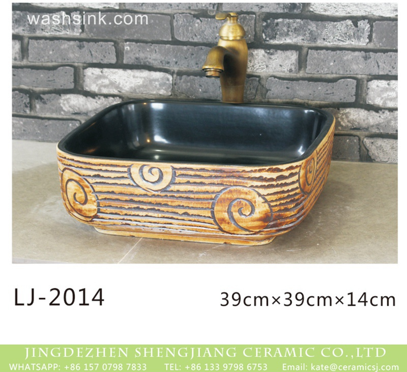 LJ-2014 Shengjiang factory unique design smooth black wall and hand carved pattern wood surface wash hand basin  LJ-2014 - shengjiang  ceramic  factory   porcelain art hand basin wash sink