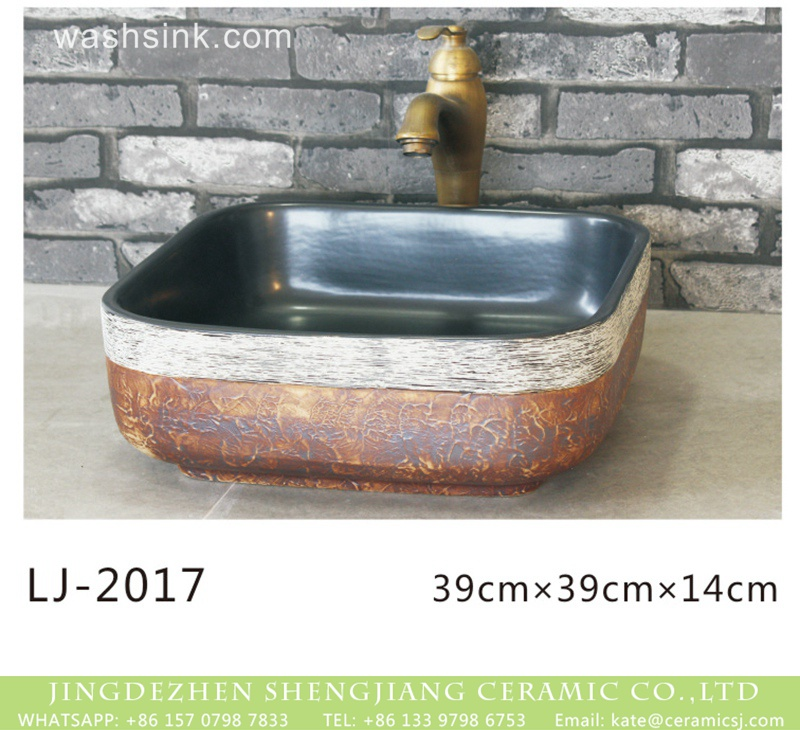 LJ-2017 Chinese modern new style smooth black wall brown color and white edge surface lavabo  LJ-2017 - shengjiang  ceramic  factory   porcelain art hand basin wash sink