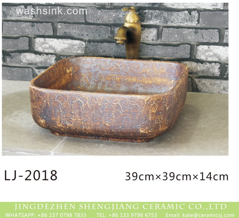 LJ-2018 Chinese art ceramic brown color with special pattern foursquare sanitary ware  LJ-2018 - shengjiang  ceramic  factory   porcelain art hand basin wash sink