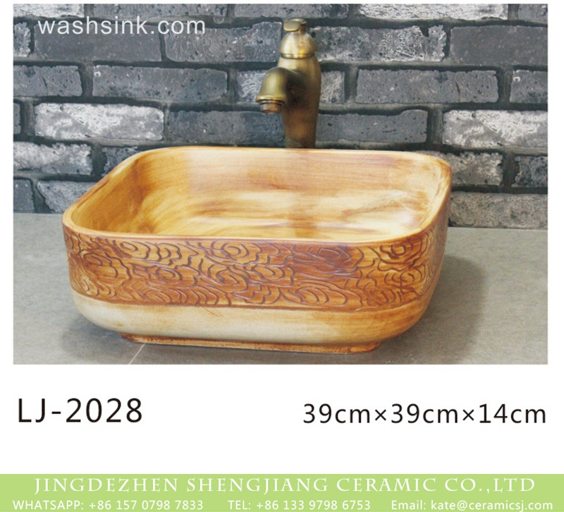 LJ-2028 Hot new products hand carved wood embossed auspicious clouds surface lavabo  LJ-2028 - shengjiang  ceramic  factory   porcelain art hand basin wash sink