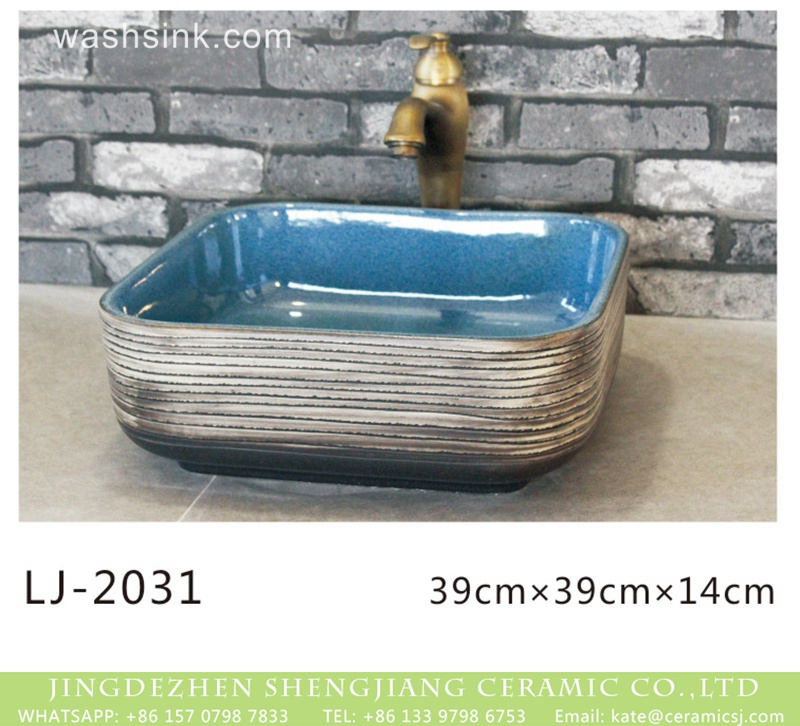 LJ-2031 Hot Sales special design smooth blue wall and white color with black lines surface wash sink  LJ-2031 - shengjiang  ceramic  factory   porcelain art hand basin wash sink