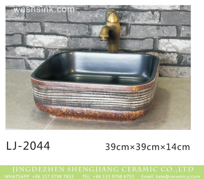 LJ-2044 Jingdezhen wholesale black wall and hand carved dark color surface sanitary ware  LJ-2044 - shengjiang  ceramic  factory   porcelain art hand basin wash sink