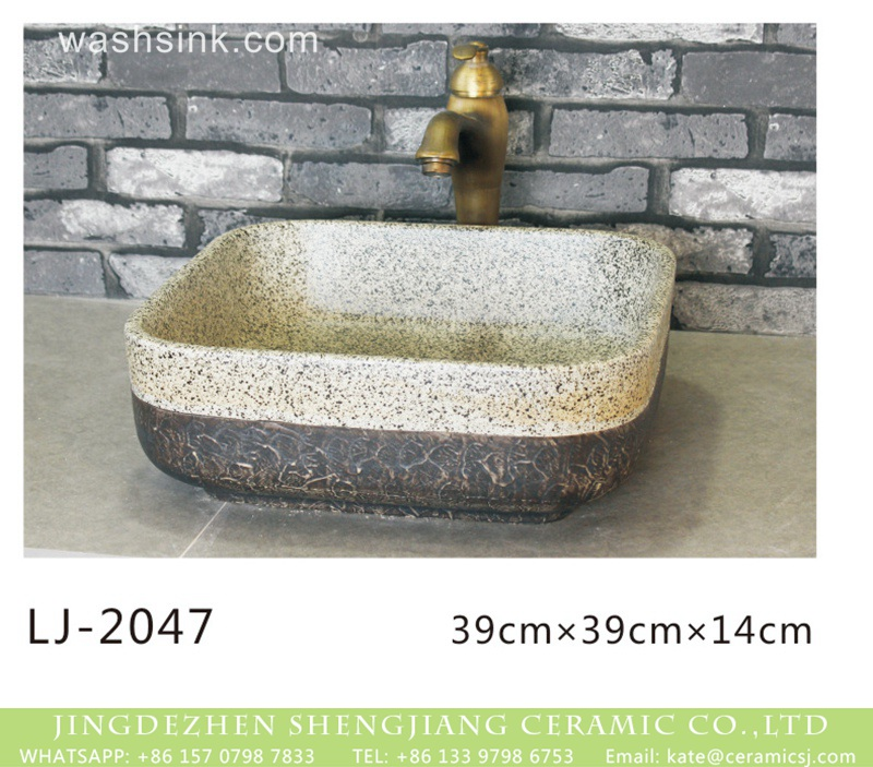 LJ-2047 China traditional style product dark and white color with spots wash sink  LJ-2047 - shengjiang  ceramic  factory   porcelain art hand basin wash sink