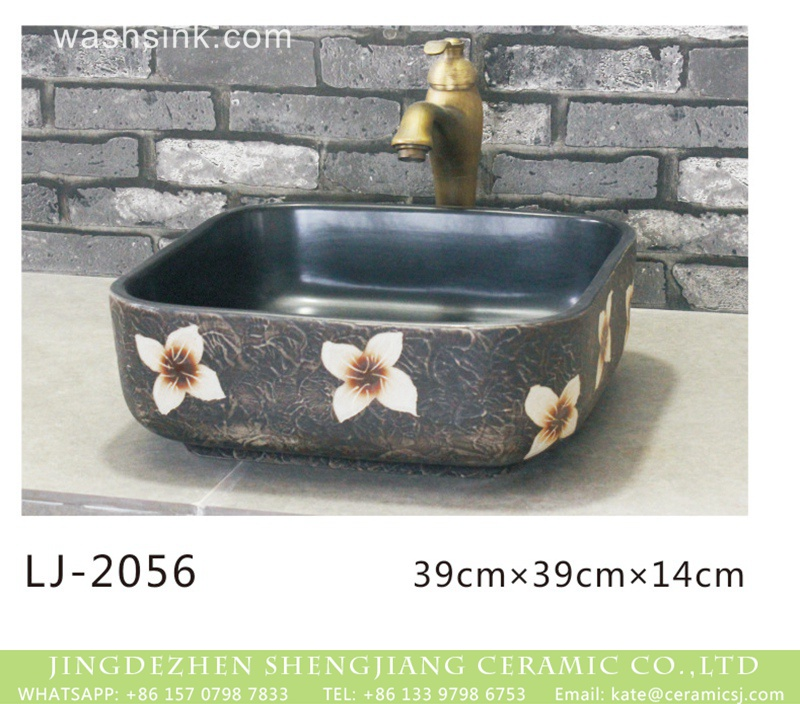 LJ-2056 Chinese modern new style black color with white flowers printing art basin  LJ-2056 - shengjiang  ceramic  factory   porcelain art hand basin wash sink