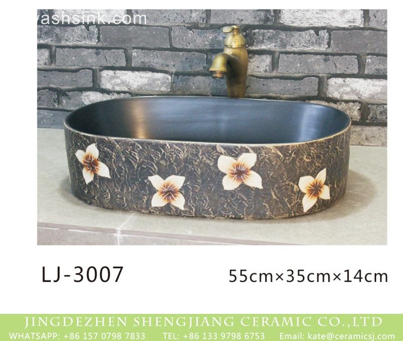 LJ-3007 Jingdezhen factory direct dark surface with white flowers pattern thin edge oval porcelain art basin  LJ-3007 - shengjiang  ceramic  factory   porcelain art hand basin wash sink