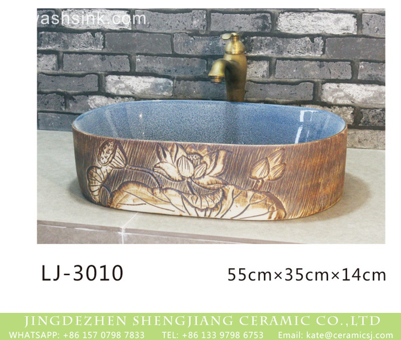 LJ-3010 Shengjiang factory new product light blue wall and hand carved flowers pattern vanity basin  LJ-3010 - shengjiang  ceramic  factory   porcelain art hand basin wash sink