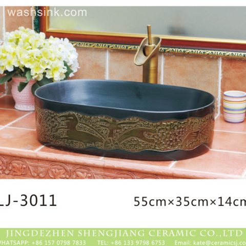 Shengjiang factory produce retro black oral ceramic with special gold pattern art basin  LJ-3011
