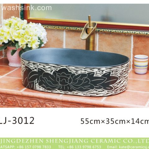 China modern style black and white surface oval porcelain wash hand basin  LJ-3012
