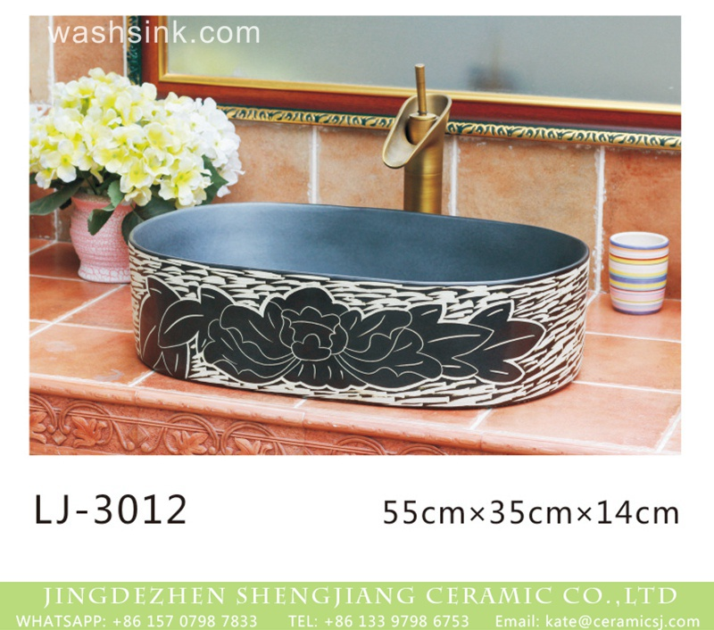 LJ-3012 China modern style black and white surface oval porcelain wash hand basin  LJ-3012 - shengjiang  ceramic  factory   porcelain art hand basin wash sink