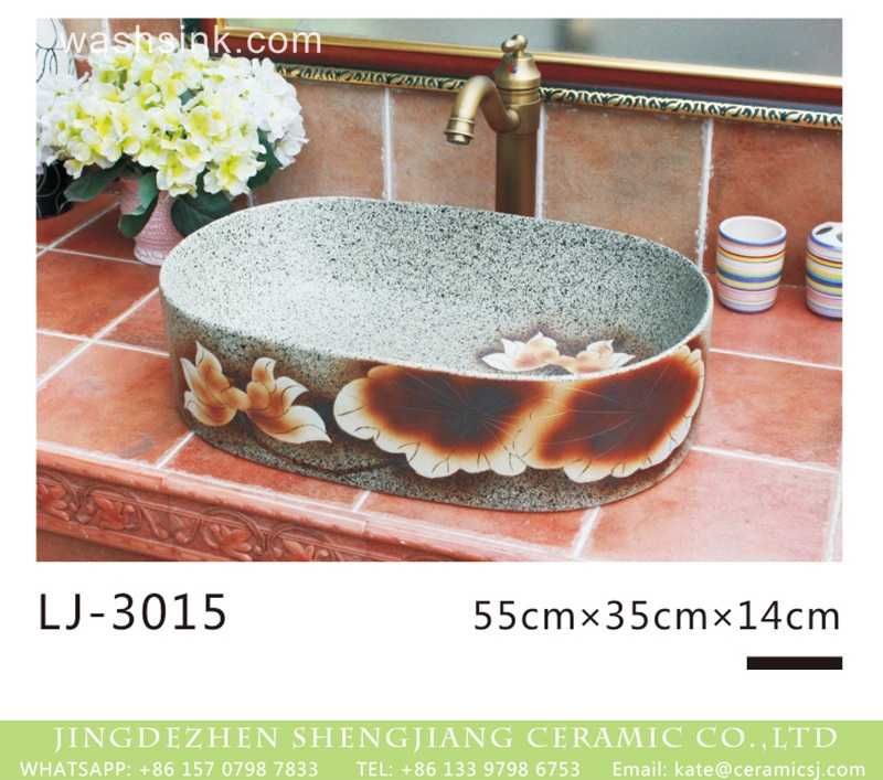 LJ-3015 Hot new products imitating marble oval ceramic with beautiful flowers pattern wash sink  LJ-3015 - shengjiang  ceramic  factory   porcelain art hand basin wash sink