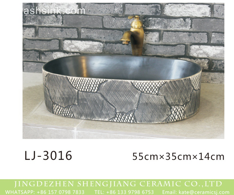 LJ-3016 Shengjiang factory produce black wall and dark surface with special pattern art oval basin  LJ-3016 - shengjiang  ceramic  factory   porcelain art hand basin wash sink