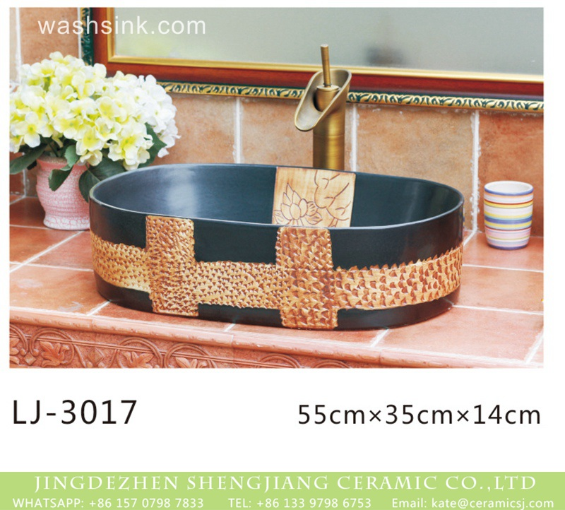 LJ-3017 China traditional style black and brown special printing oval porcelain wash sink  LJ-3017 - shengjiang  ceramic  factory   porcelain art hand basin wash sink