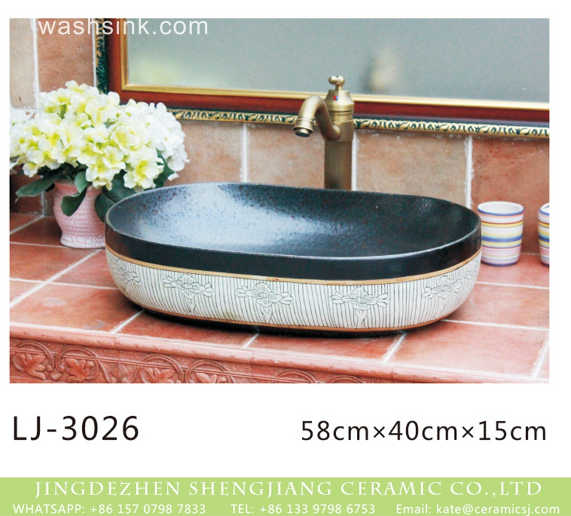 LJ-3026 Shengjiang factory oval porcelain black wall and white stripes surface sanitary ware  LJ-3026 - shengjiang  ceramic  factory   porcelain art hand basin wash sink