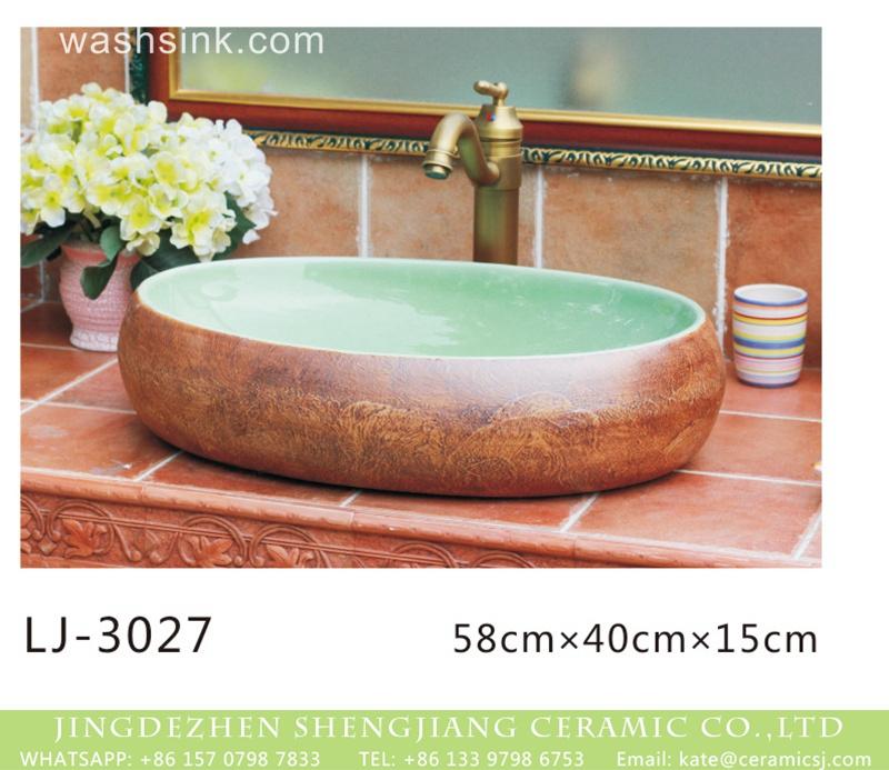 LJ-3027 Hot new products green wall and brown surface oval ceramic wash basin  LJ-3027 - shengjiang  ceramic  factory   porcelain art hand basin wash sink