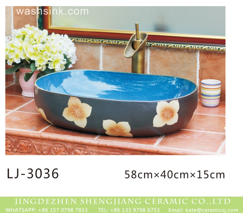 LJ-3036 Jingdezhen wholesale blue wall and black surface with beautiful flowers printing wash basin  LJ-3036 - shengjiang  ceramic  factory   porcelain art hand basin wash sink