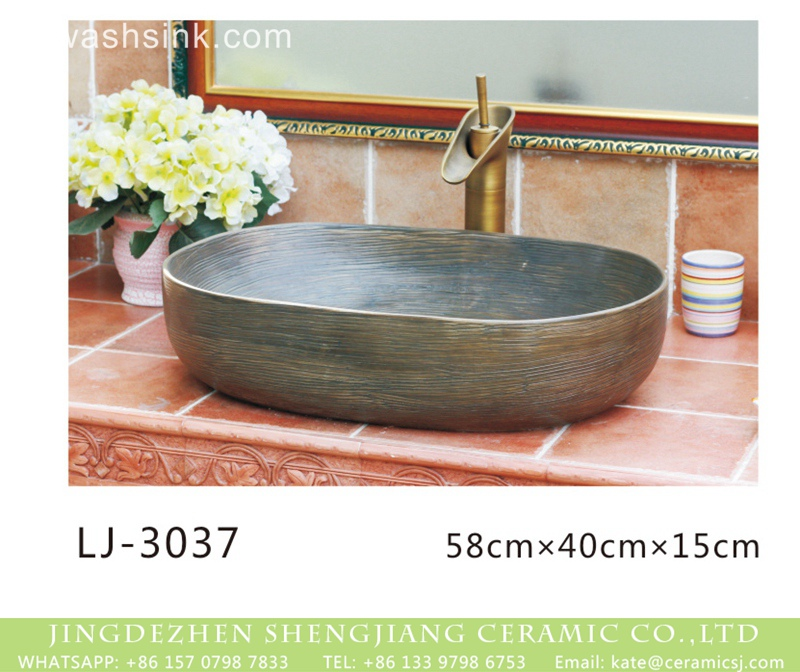 LJ-3037 China traditional oval ceramic imitating marble wash sink   LJ-3037 - shengjiang  ceramic  factory   porcelain art hand basin wash sink