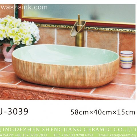 Jingdezhen produce new product modern simplicity wood surface oval wash hand basin  LJ-3039