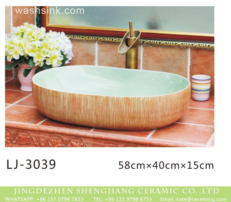 LJ-3039 Jingdezhen produce new product modern simplicity wood surface oval wash hand basin  LJ-3039 - shengjiang  ceramic  factory   porcelain art hand basin wash sink