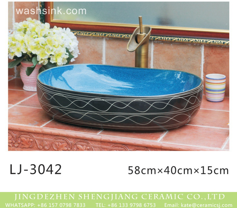 LJ-3042 Shengjiang factory new product blue wall and black surface with white lines art oval basin  LJ-3042 - shengjiang  ceramic  factory   porcelain art hand basin wash sink