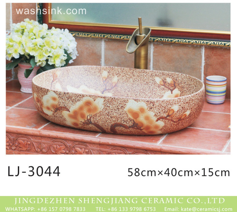 LJ-3044 China traditional oval brown color ceramic with flowers printing wash sink  LJ-3044 - shengjiang  ceramic  factory   porcelain art hand basin wash sink