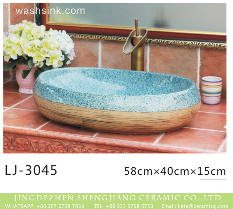 LJ-3045 Hot sale new product blue and wood color art oval wash basin  LJ-3045 - shengjiang  ceramic  factory   porcelain art hand basin wash sink