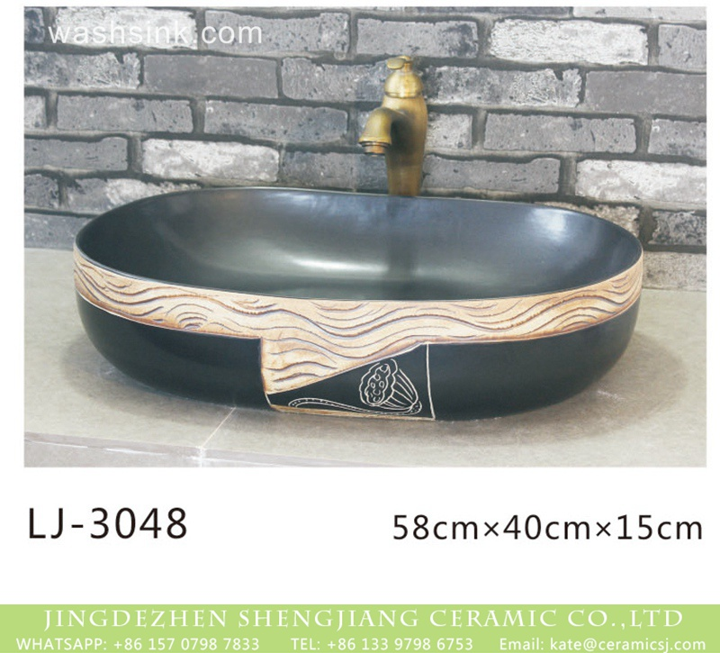 LJ-3048 Chinese modern new style black color oval ceramic with special pattern sanitary ware  LJ-3048 - shengjiang  ceramic  factory   porcelain art hand basin wash sink