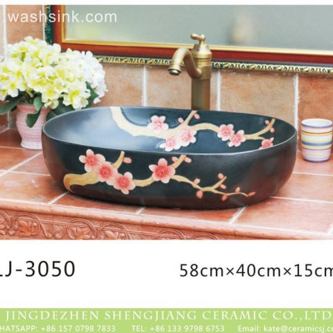 Jingdezhen factory direct black color oval porcelain with beautiful flowers printing vanity basin  LJ-3050