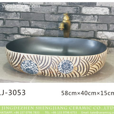 Jingdezhen unique oval ceramic black wall and hand carved special design surface lavabo  LJ-3053