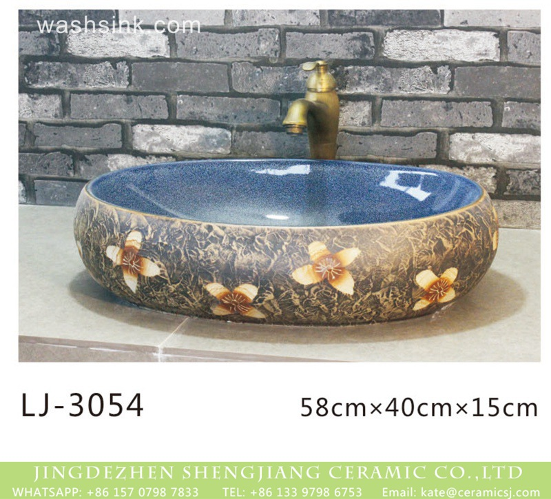 LJ-3054 China traditional style blue smooth wall and dark surface with flowers printing wash basin  LJ-3054 - shengjiang  ceramic  factory   porcelain art hand basin wash sink