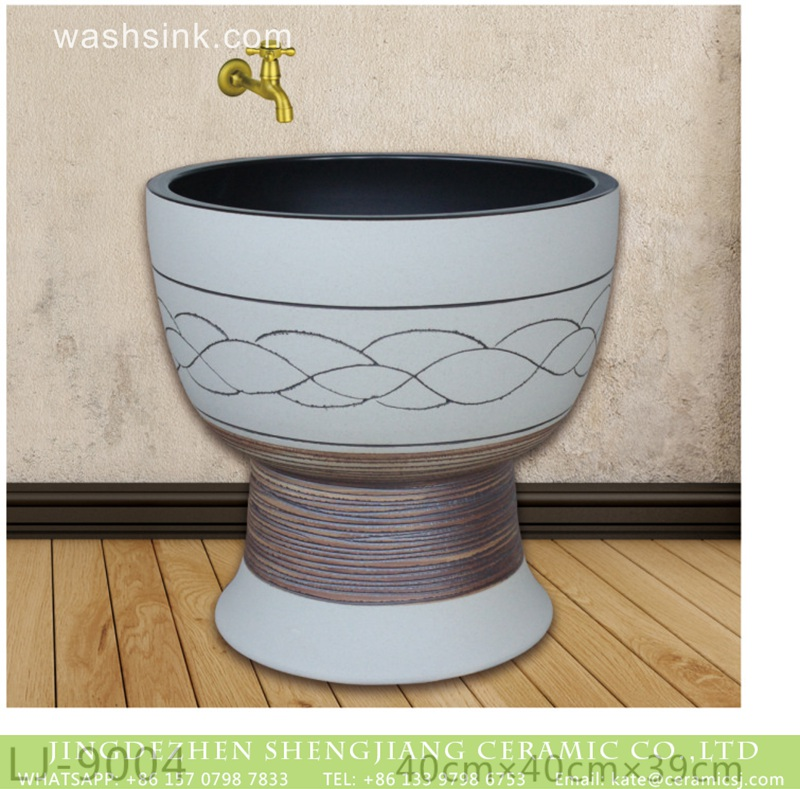 LJ-9004 Shengjiang factory white color floor mop bathroom art wash sink  LJ-9004 - shengjiang  ceramic  factory   porcelain art hand basin wash sink