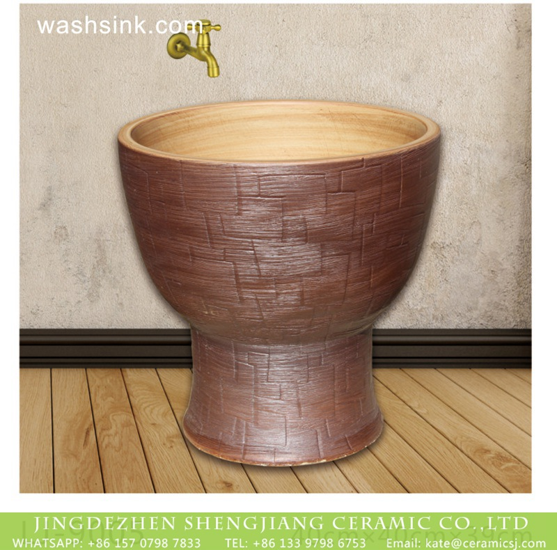 LJ-9005 Chinese style brown color art bathroom mop basin  LJ-9005 - shengjiang  ceramic  factory   porcelain art hand basin wash sink
