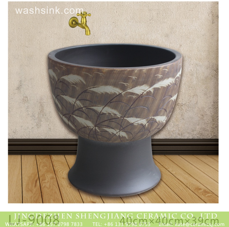 LJ-9008 Shengjiang factory hot sell feather pattern mop sink  LJ-9008 - shengjiang  ceramic  factory   porcelain art hand basin wash sink