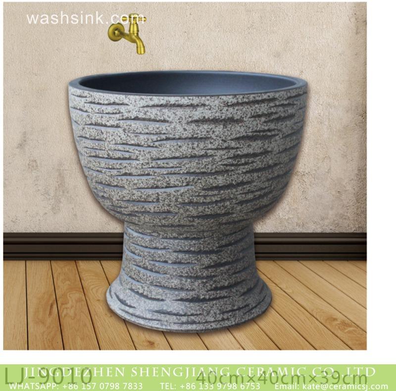 LJ-9010 New product hand carved dark color mop basin  LJ-9010 - shengjiang  ceramic  factory   porcelain art hand basin wash sink