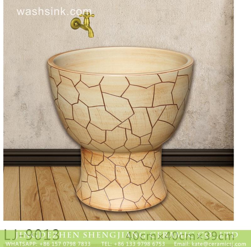 LJ-9013 Shengjiang factory produce yellow crack patterns mop sink  LJ-9013 - shengjiang  ceramic  factory   porcelain art hand basin wash sink