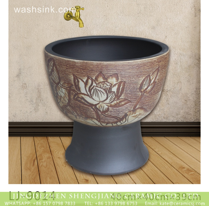 LJ-9014 New product hand carved flowers pattern mop basin  LJ-9014 - shengjiang  ceramic  factory   porcelain art hand basin wash sink